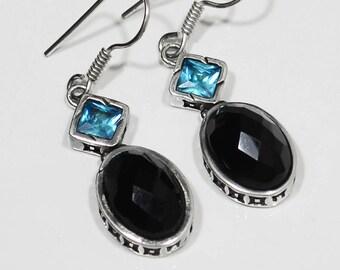 """Sterling Silver Black Onyx Earrings, Silver Earrings, Black Onyx,Oval,Blue Topaz,2-Stone .925 Sterling Silver Earrings 1.6""""x0.4"""" (With Hook)"""