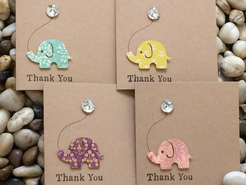 Newborn Baby Elephant And Balloon Handmade Thank You Cards Button Card Nelly The Elephant Card for Baby Boy or Baby Girl 3d Exquisite