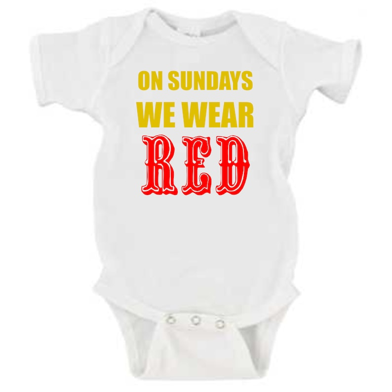 790d1d192 Niners baby onesie/On Sundays we wear Red/Red and Gold baby | Etsy