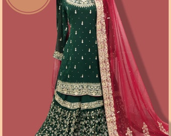 bottle green bridal dress | bridal lehenga | kameez and lehenga | green lehenga | green gharara | red bridal dupatta | indian clothes