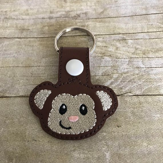 Brown Leather Monkey Fob Animal Gifts Purse Charms Clasp