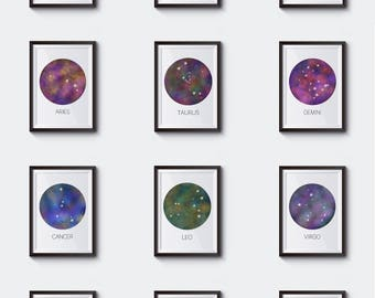 Constellation Gallery, Zodiac Poster Set, Printable Wall Art, Office Art