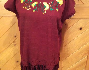 Handwoven and embroidered Chiapas Mexican blouse