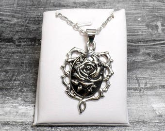 Silver Rose Thorn Necklace - Gothic Rose Necklace - Thorn Necklace - Rose Pendant Necklace - Rose And Thorns