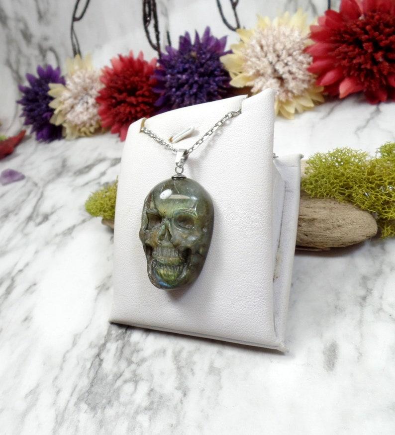 Gothic Skull Gemstone Skull Carved Labradorite Skull Necklace Carved Gemstone Necklace No 6 Halloween Skull