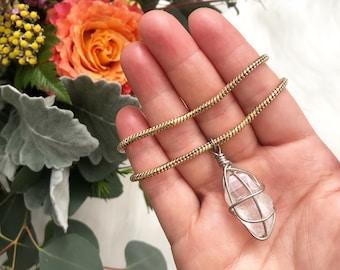 Quartz Pendant Necklace, quartz necklace, wire wrapped quartz