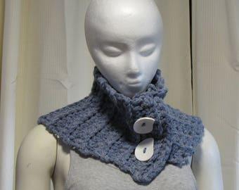 Buttoned Denim Neck Warmer - Crochet