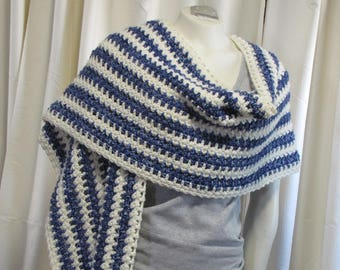 Long Striped Chevron Wrap - Crochet