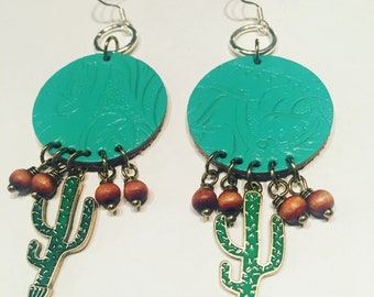 Blue Leather Circle and Cactus Earrings