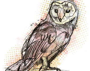 A Noble Bird. Owl print fine art giclee watercolor drawing hoot