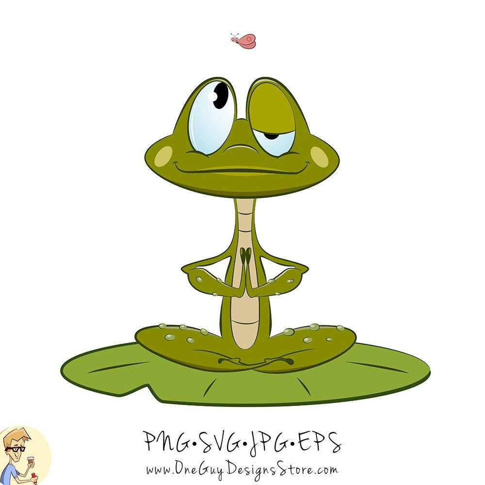 Cute Frog Meditating And Looking At Funny Butterfly Vector Etsy