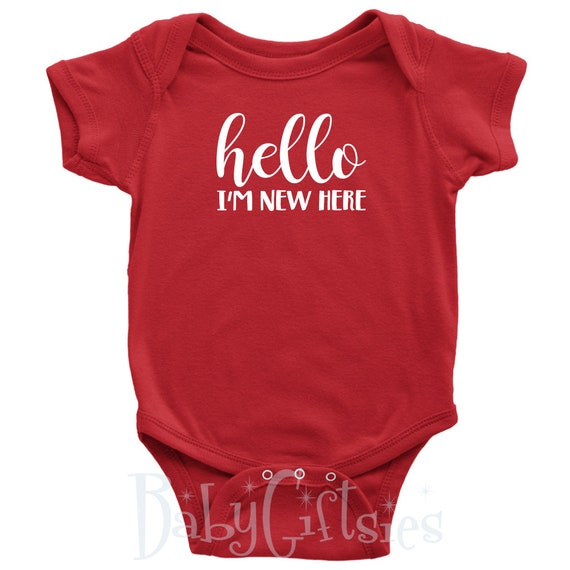 5f643ce484 Hello I m New Here Cute Newborn Baby Bodysuit Fun Baby