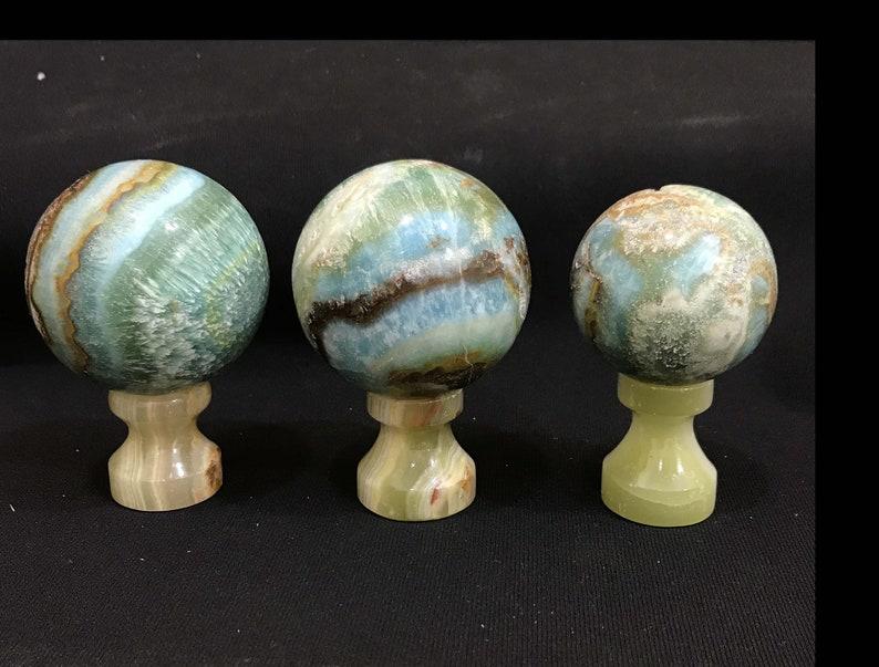 3 Pieces Natural Blue Aragonite Spheres 765gr 2.7 inch Each C25