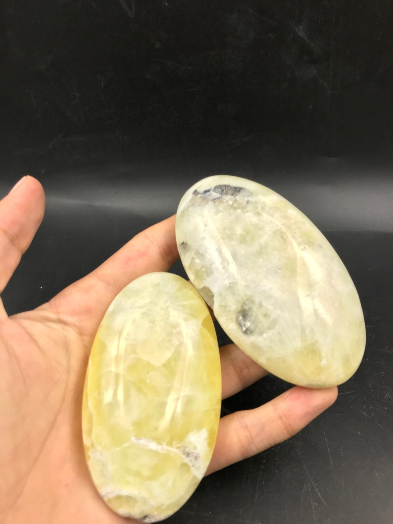 5 Yellow Lemons Calcite Palms 591gr 9.2x5.2x2.6cm From Pakistan