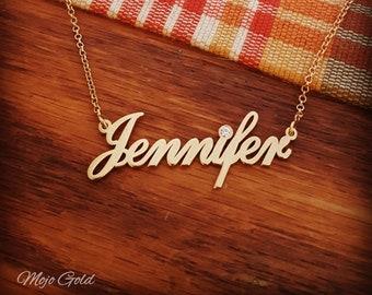 5d48af729 Cubic Zirconia Necklace Gold Necklace Gold Chain Jennifer Necklace My Name  Necklace 18K Gold Plated Name Necklace CZ Necklace Gift For Her