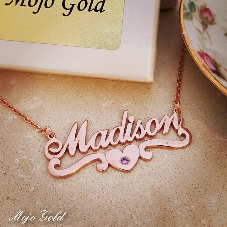 Valentine/'s Day Gift For HerRose Gold NecklaceWomen/'s Name NecklaceName Necklace With BirthstoneMadison Name NecklaceHeart Necklace