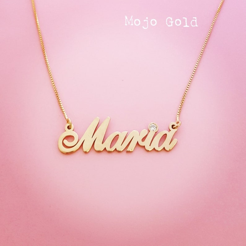b26213506a2a7 14K Name Necklace Birthstone Necklace Custom Name Necklace April Birthstone  Gold Name Necklace Personalized Jewelry Maria Necklace
