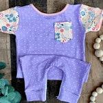 Baby girl purple dot Easter romper- Girl Easter romper- Girl Easter floral outfit