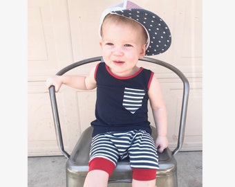 Baby striped harem shorts- Toddler striped harem shorts- Navy striped harem shorts- Summer baby clothes- Toddler summer clothes