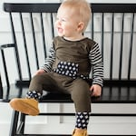 Baby olive green romper- Toddler olive green and black romper- Baby boy coming home outfit-