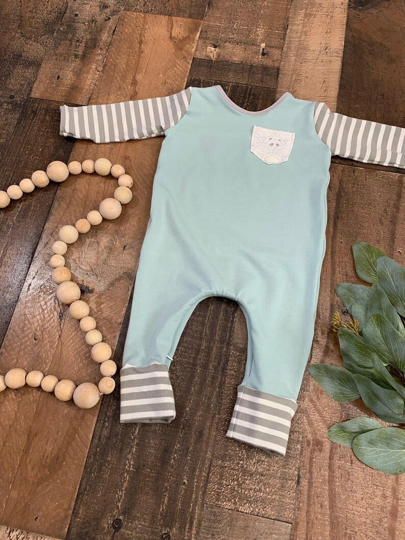 Baby seafoam and grey romper Toddler seafoam and grey romper Gender neutral baby coming home outfit-
