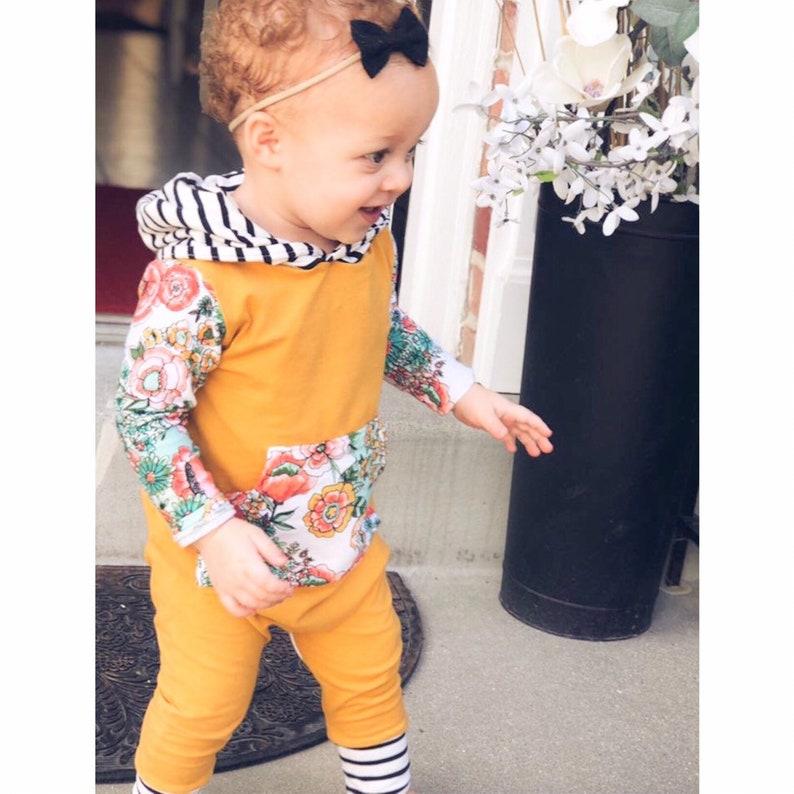 e5f666b64 Baby girl mustard floral hooded romper Toddler girl mustard   Etsy