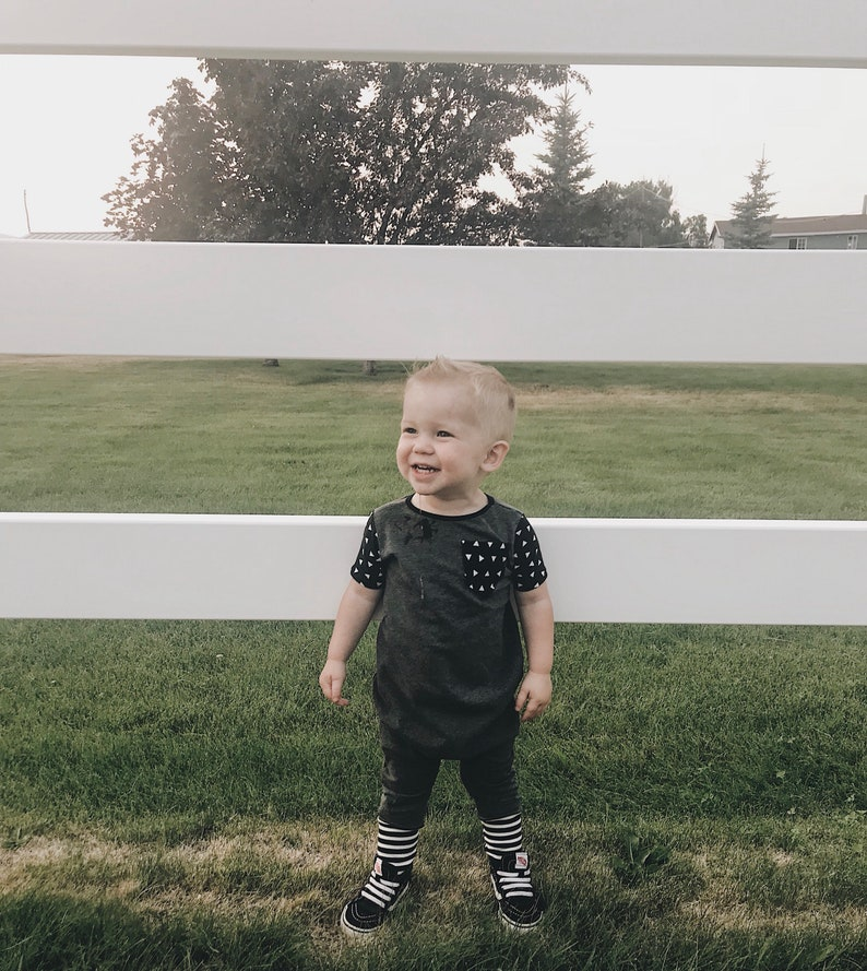 Baby charcoal grey romper Baby boy coming home hospital outfit Toddler charcoal grey romper