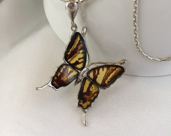 Amber Necklace , Amber Pendant Butterfly Sculptured in Amber , Real  Amber Jewelry  with Silver ,925