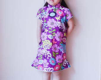 Floral cotton Chinese Qi Pao dress