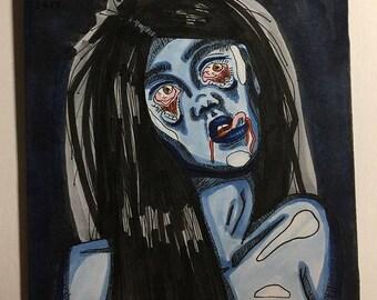 "Bloody Blues Original 4.75""x4.125"" Drawing"