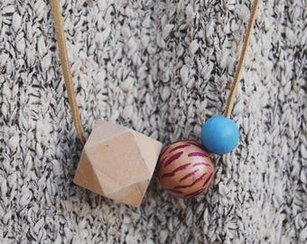 Wooden bead necklace // Hand Painted // striped necklace