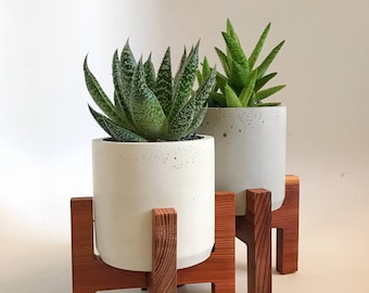 Midcentury modern, handmade small concrete planter and stand