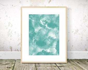 Smoke Print, Teal Wall Art, Teal Print, Teal Abstract Painting, Teal Art, Printable Wall Art