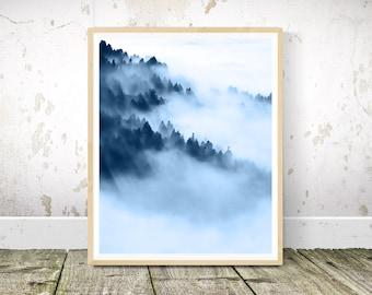 Forest Art Print, Navy Blue Wall Art, Navy Blue Wall Decor, Navy Blue Wall Art Print, Abstract Art, Abstract Print, Printable Wall Art