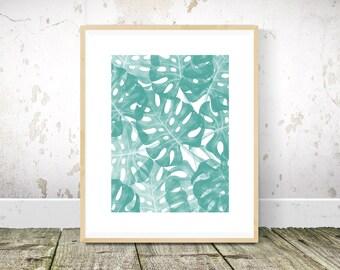 Monstera Print, Tropical Print, Monstera Art, Teal Wall Art, Teal Print, Teal Abstract Painting, Teal Art, Printable Wall Art