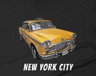 New York City Classic Checker Taxi Cab Big Apple NYC Women's short sleeve t-shirt