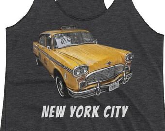 New York City Classic Checker Taxi Cab Big Apple NYC Women's Racerback Tank