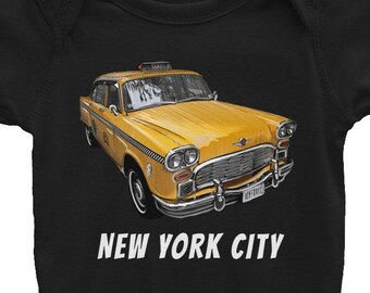 New York City Classic Checker Taxi Cab Big Apple NYC Infant Bodysuit