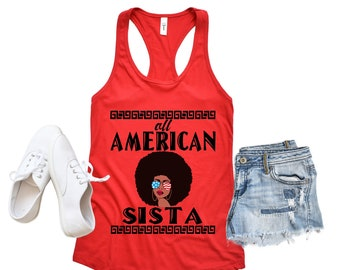 6078bc7ff1 Women racerback tank top. Patriotic woman shirts. Afro pro black natural  hair proud afrocentric shirt for sistas female friends sisters moms