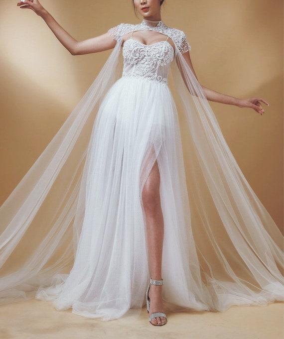 Bridal Cape Bridal Capelet Wedding Cape Wedding Veil Bolero Alternative Veil Lace Cape Lace Veil Long Veil Bridal Shrug Tulle Cape