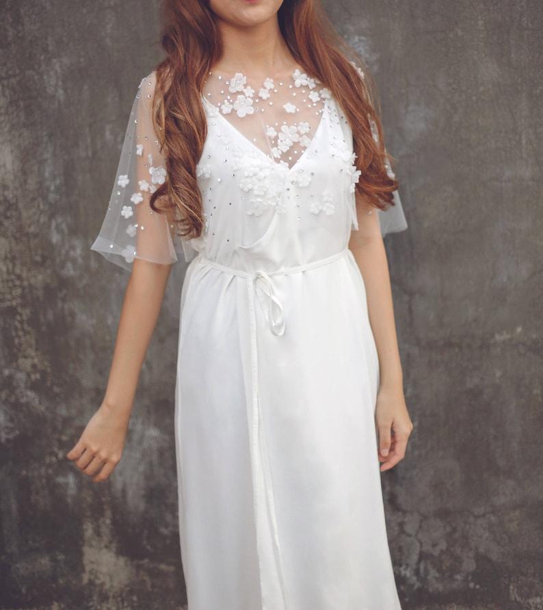 Embellished Bridal Dress Cover Up Lace Wedding Dress Cover Up Bridal Bolero Tulle Lace Bridal Cover Up  Cape 97 Tulle Wedding Cape