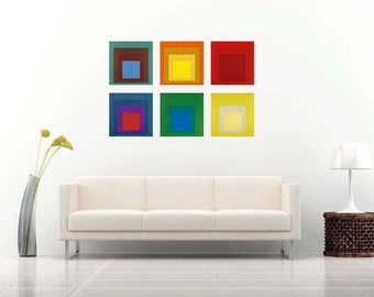 Josef Albers Set of 6 Color square Art Prints on Gloss photo paper or Canvas (print only or gallery wrap/stretched)