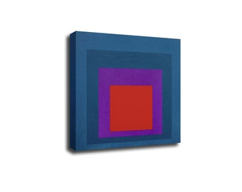 Josef Albers Color squares Blue purple red Pop Art Print Poster Canvas/Glossy HD Canvas, Gallery Wrap Or Glossy Poster