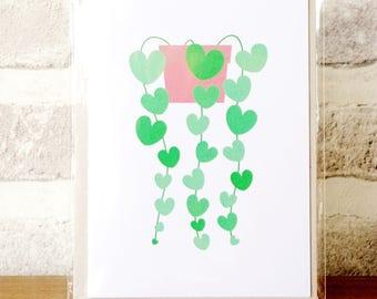 Chain of Hearts Houseplant Art Print Greetings Card