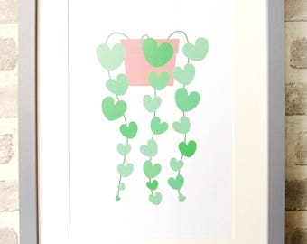 Chain of Hearts Plant Art Print A4