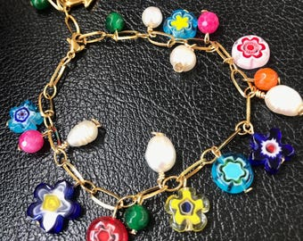 Bracelet - 24K Gold Plated, crystals and freshwater pearls