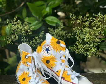 c27cb88bc971 Hand-Painted Sunflower Shoes   Hand-Painted Daisy Shoes   Custom Painted  Canvas Shoes   Hand-painted Vans   Hand-Painted Converse
