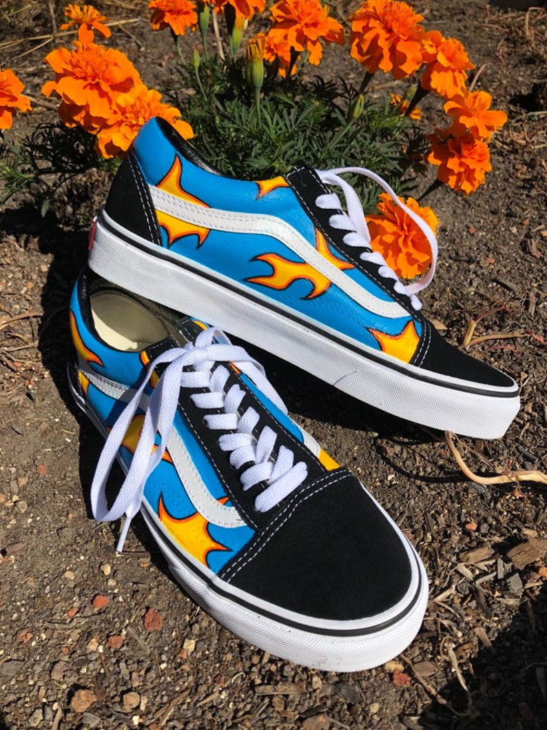 4f2d8f527fc9 Hand-Painted Golf Wang Flame Shoes   Custom Painted Canvas