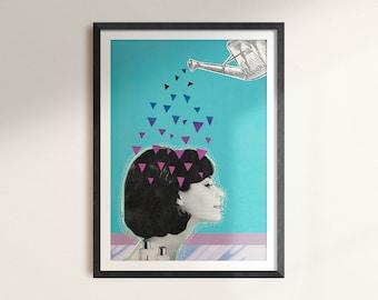 Lady - Digital Collage Art Print Poster