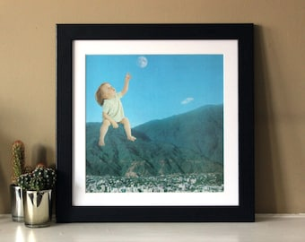 Moon Kid - Digital Collage Art Print Poster
